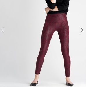 Faux Suede Reptile Print Waist Shaping Legging